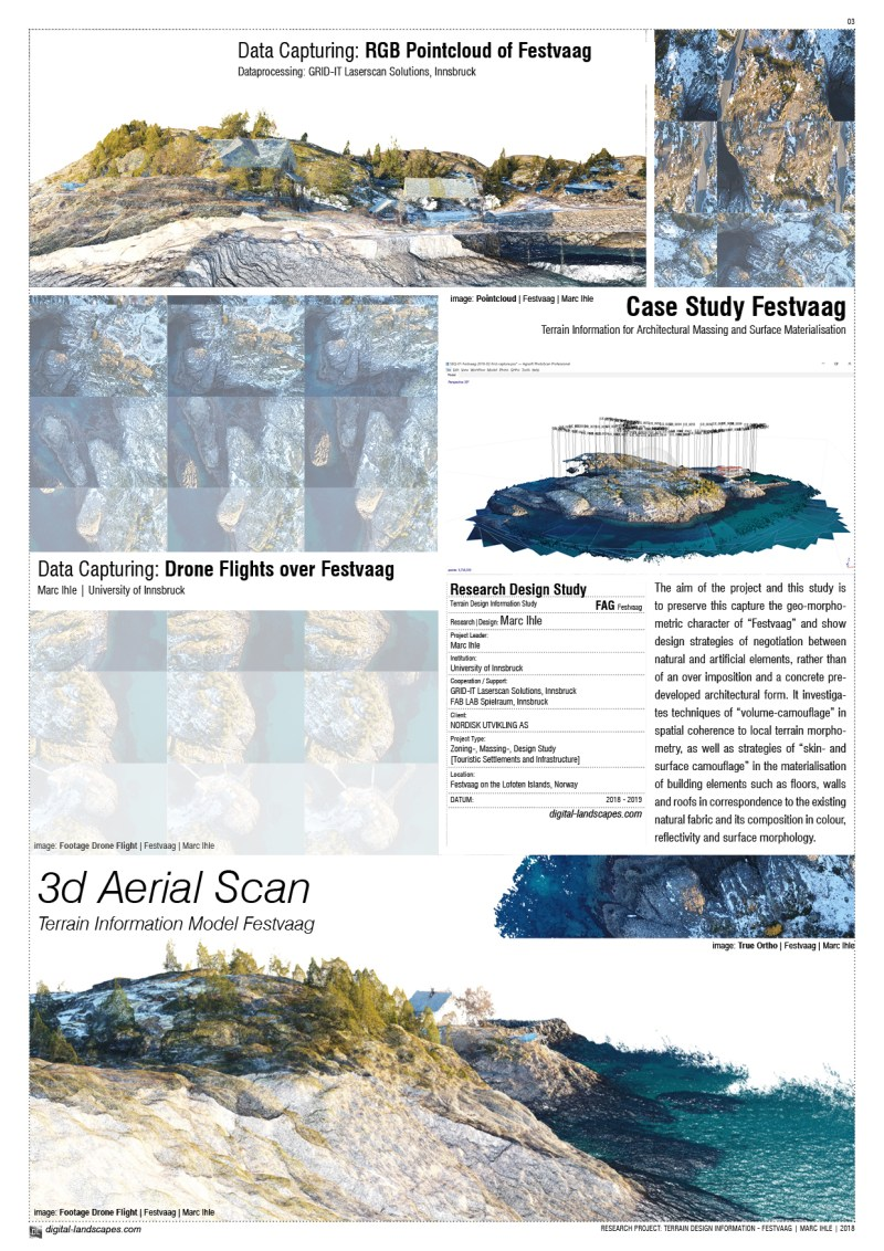 NEGOTIATING ARCTIC TERRAIN | Design Proposal for Touristic Infrastructures on the Peninsula of Festvaag | Drone Flight: Marc Ihle | 2018