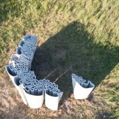 """Liquid Rock"" | 3d Concrete Printing Work of the Institute for Experimental Architecture at the Universtiy of Innsbruck | Prof. Marjan Colletti | Exhibition am Wachtberg, Austria 2018 | Organisation: Georg Grasser | Drone Flight & Foto: Marc Ihle"