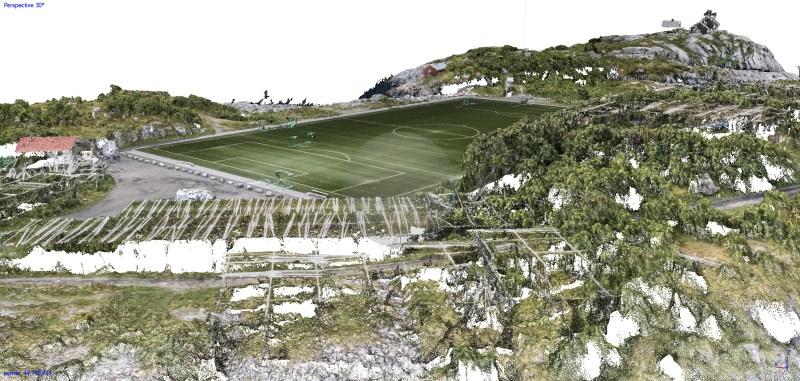 """Soccer Field Henningsvær"" | Aerial Photography & Photogrammetry | 3D Landscape Scan | Marc Ihle | 2018"