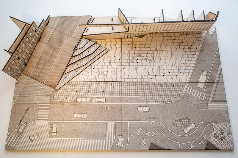 3d Model of the Harbour Terminal Prostneset Tromsø | 80x50 cm Laser Print on Plywood | 2021-03-08 | Plan and Digital Fabrication by Digital Landscapes | supported by Makerspace Vesterålen and made for NODA's Designskole in Tromsø