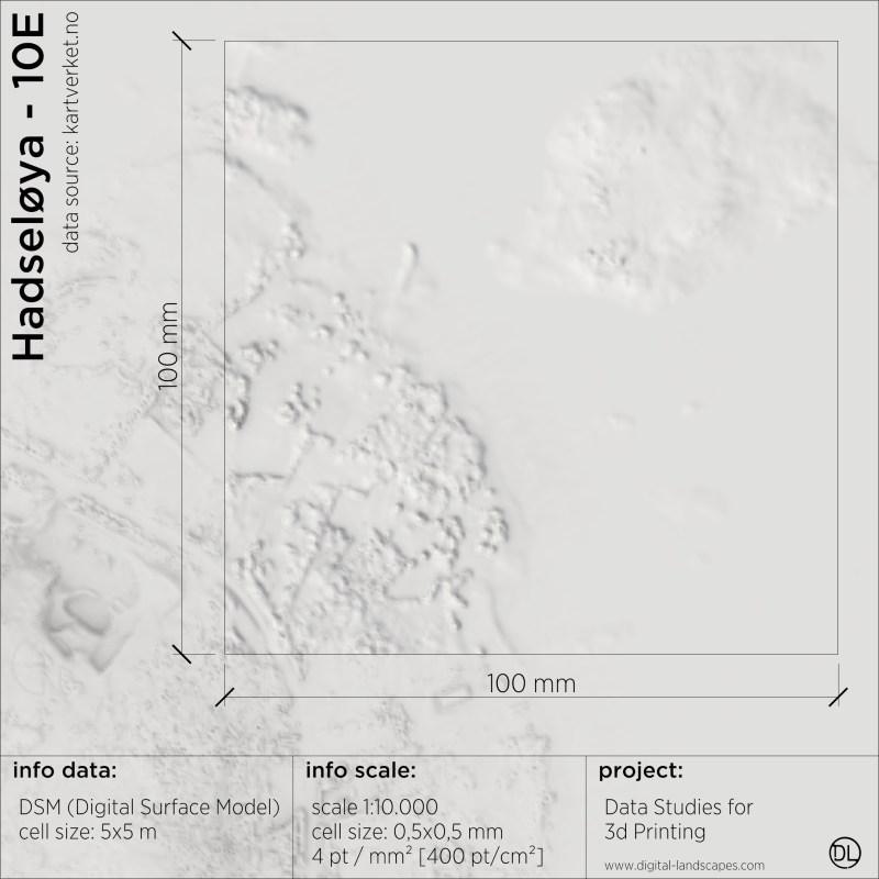 Data & Resolution study for 3d-printing | Digital Surface Model of Hadseløya | Digital-Landscapes 2021