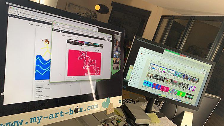 Animation fresque virtuelle team building digital à distance par ana artiste my art box et digital mural