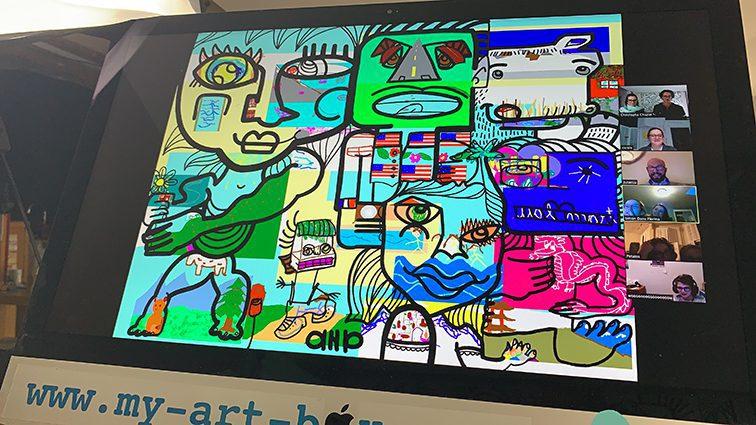 Art Digital digital lors d'un événement team building télétravail fresque virtuelle