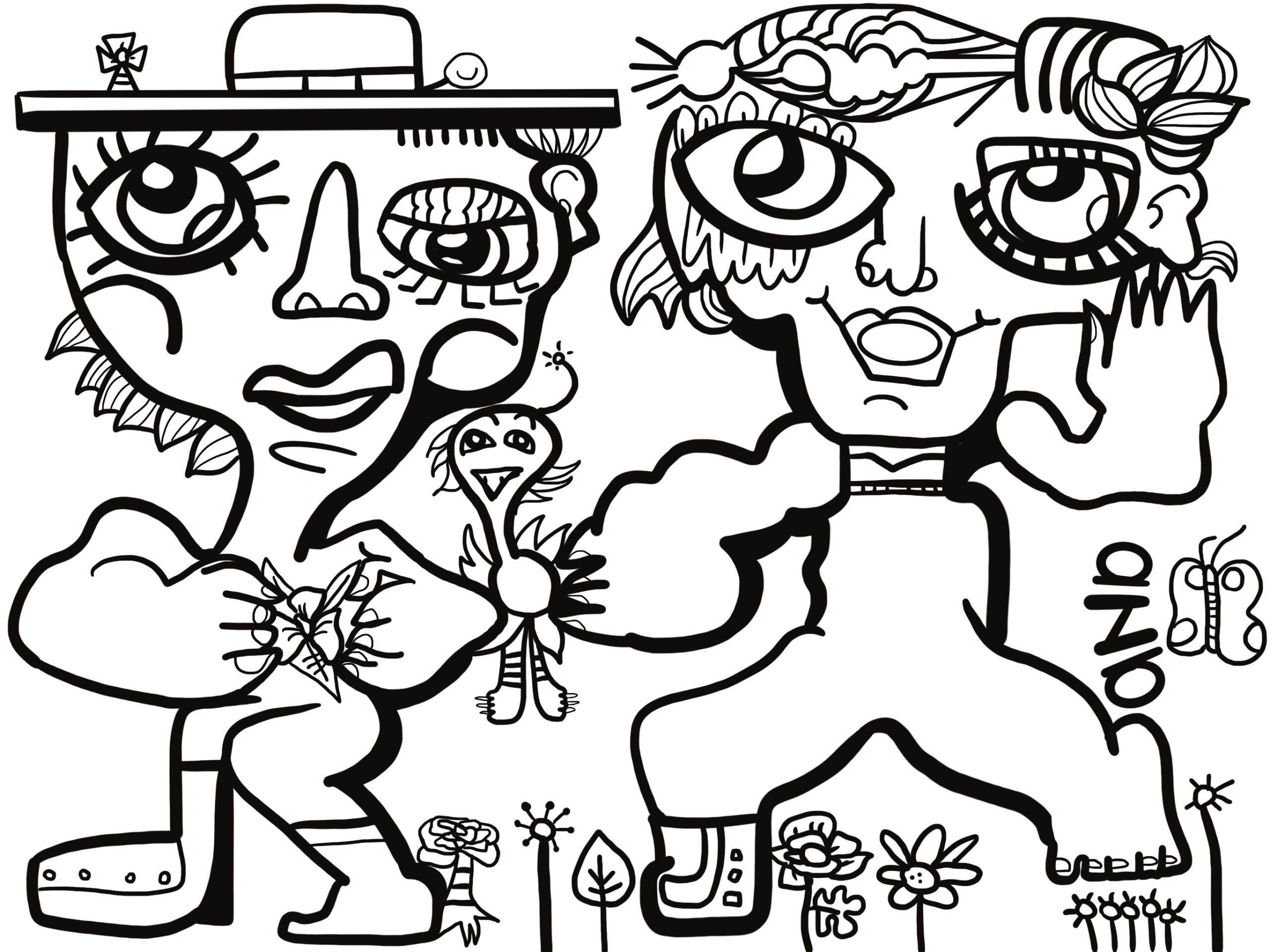 Fresque digitale brainstorming noir et blanc aNa artiste pour Digital Mural et My Art Box