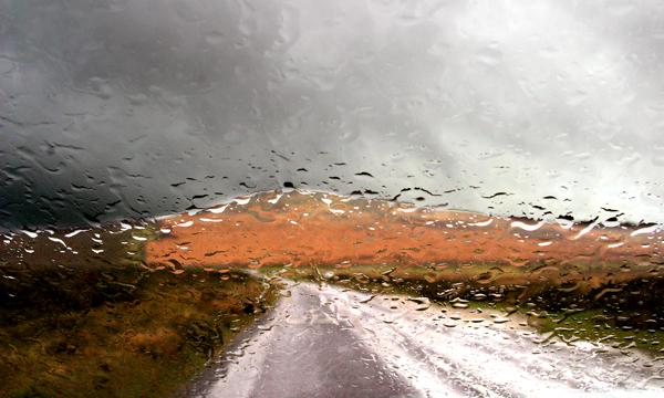 Dartmoor Tor Through Rainy Windscreen