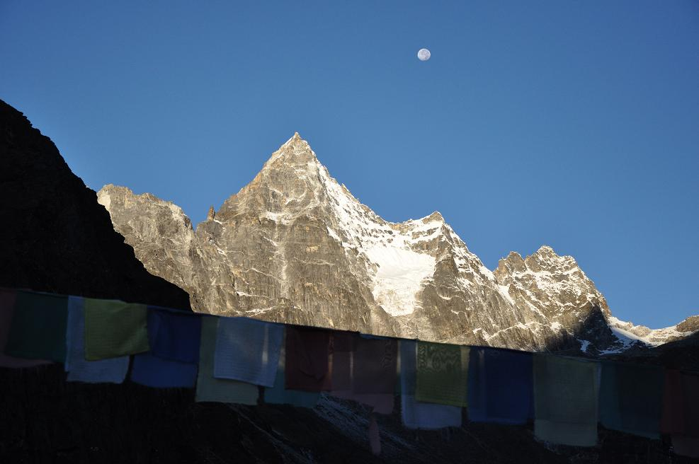 Moon And Prayer Flags - Nepal