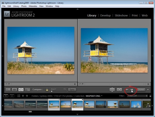 Using Lightroom Compare View