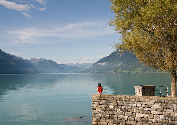 Image: Lac Brienz, Switzerland. I used my wife, Helen, to provide a splash of accent colour and poin...