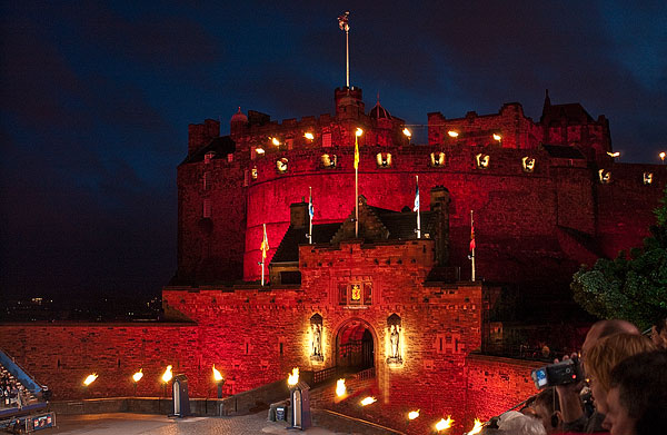 Image: Edinburgh Castle lit up for the famous Annual Tattoo. A slow exposure, 1/10 second, handheld...