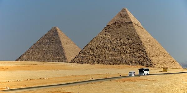 Contrasts - Pyramids, Bus and Van - Giza, Egypt - Copyright 2010 Ralph Velasco.jpg