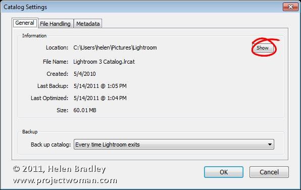 change lightroom catalog location mac