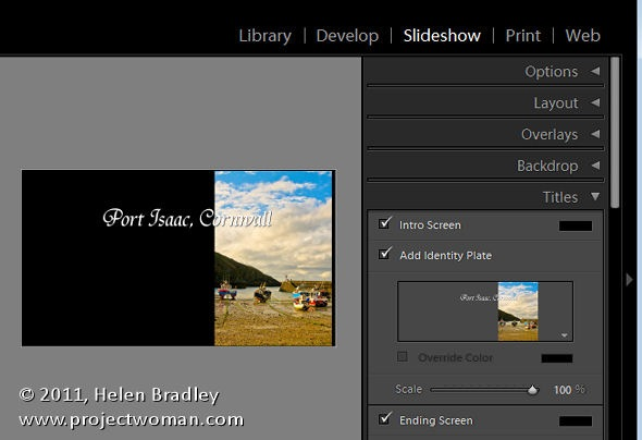 Slideshow Titles with Identity Plates in Lightroom