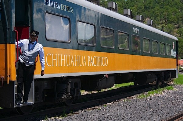 1 Chepe Train Car with Conductor - Copper Canyon, Mexico - Copyright 2011 Ralph Velasco.jpg