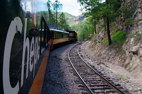 5 Chepe Train Curving to Right - Copper Canyon, Mexico - Copyright 2011 Ralph Velasco.jpg