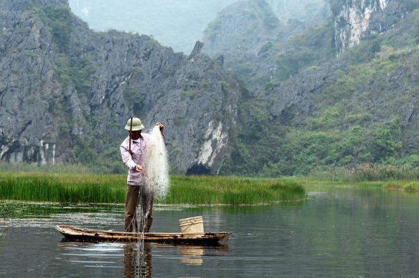 Fisherman in Halong Bay
