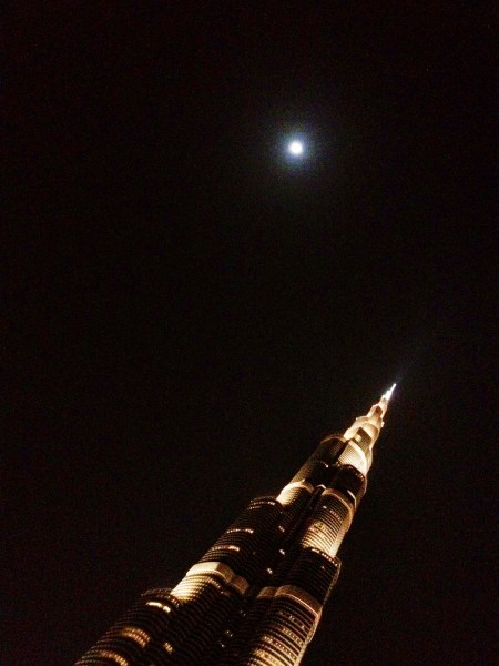 Image: The moon and the Burj Kalifa, Dubai, UAE