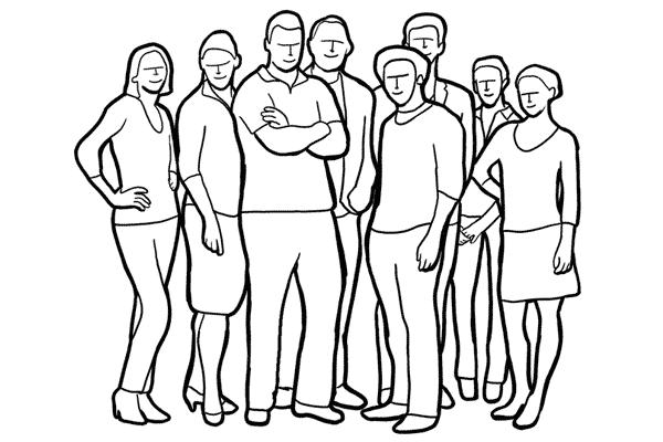 group standing businesslike