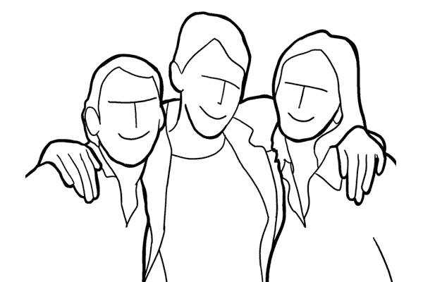 three people posing together