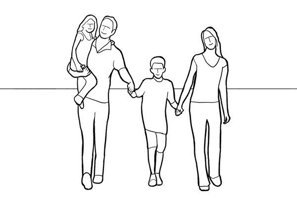 group walking forward while holding hands