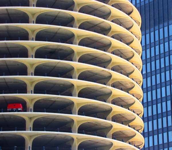 Marina City, Chicago. One-car garage.