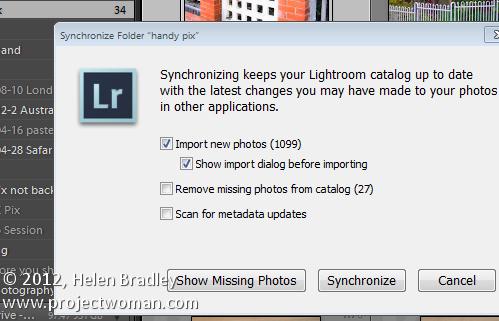 Lightroom synchronize folders