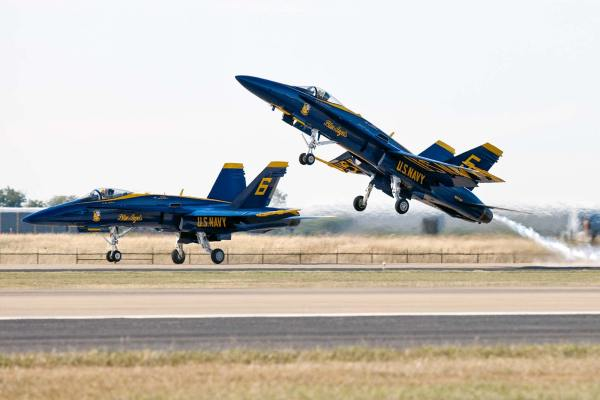 Image: For this shot of two Blue Angels taking off I used AI-Servo. This was critical because the je...