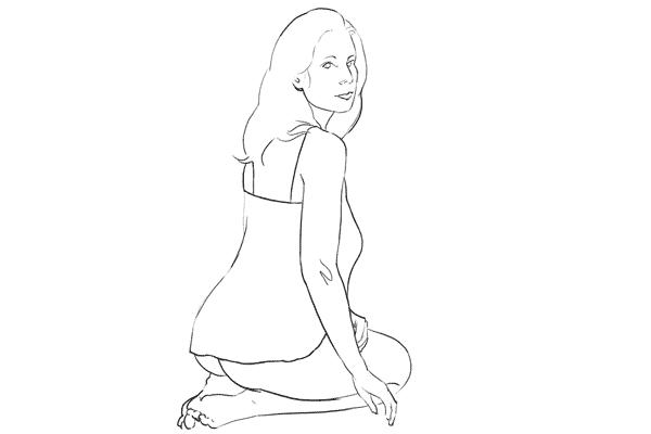 semi-nude pose