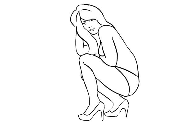 high heels crouching pose
