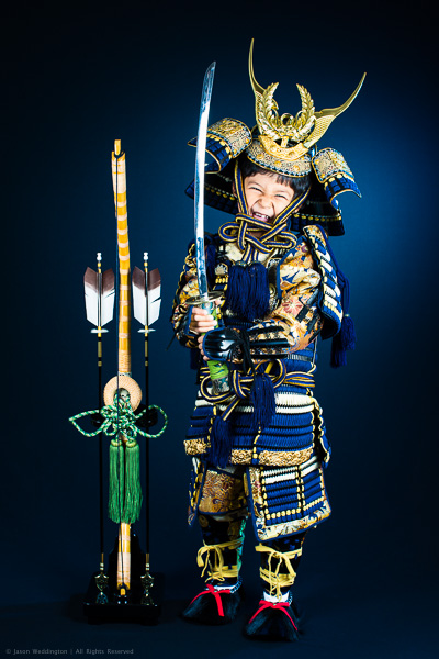 Photo of a young boy dressed as a Japanese samurai