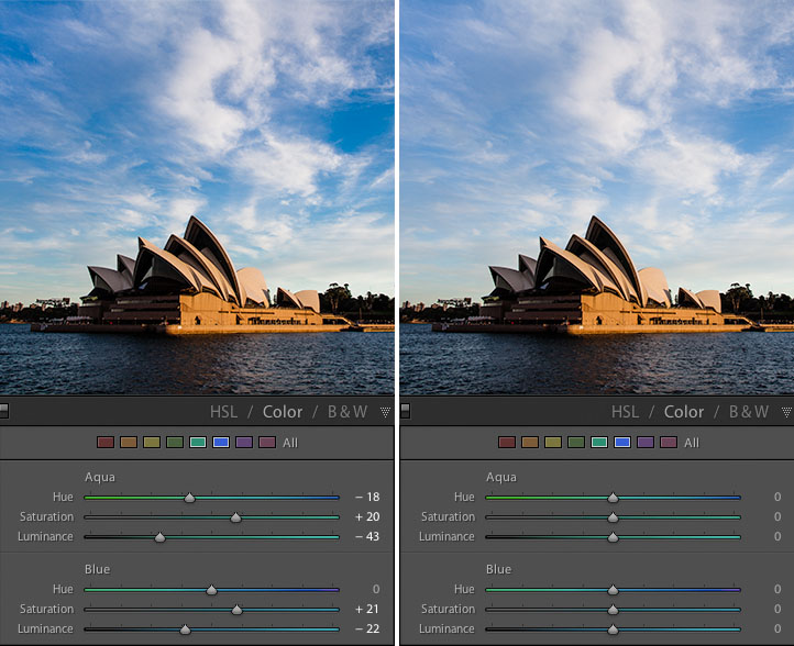 Enhancing a blue sky in Lightroom