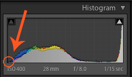 Image: Your brightest image's histogram should look something like this with a gap on the left side.