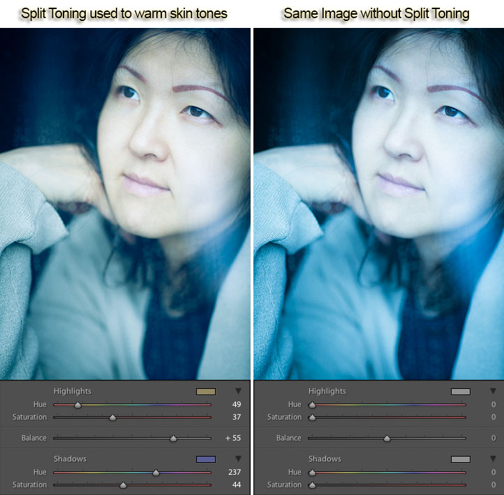 Split toning to warm skin tones