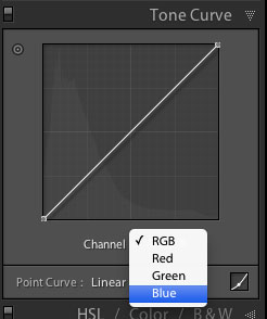 Selecting a color channel in the point curve