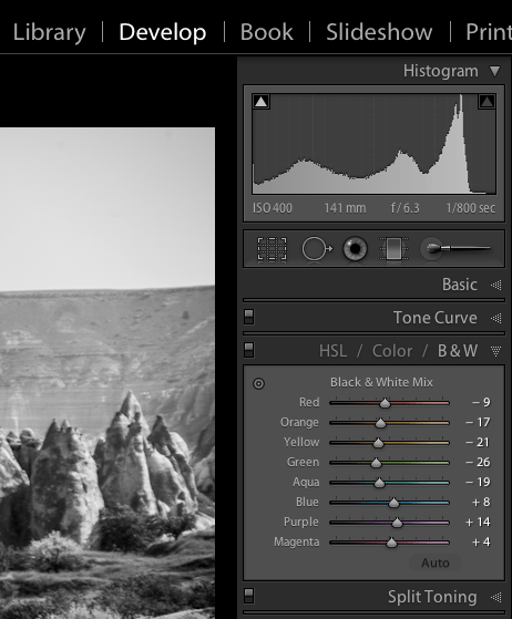 Image: Black and white mix panel in Lightroom Develop module