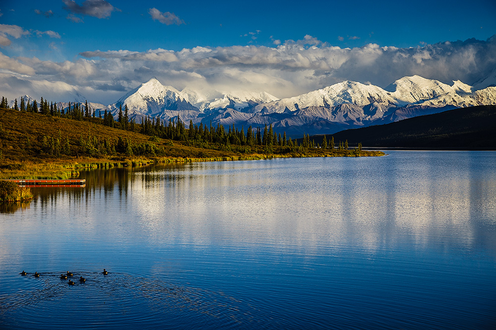 Wonder Lake is the furthest point in Denali National Park that the park bus system will reach.  It offers a spectacular view of the Alaska Range, when the weather is clear.