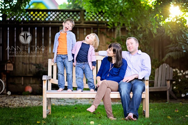 Annie Tao Photography Bay Area Burlingame lifestyle family photography family sitting on a bench in backyard 3