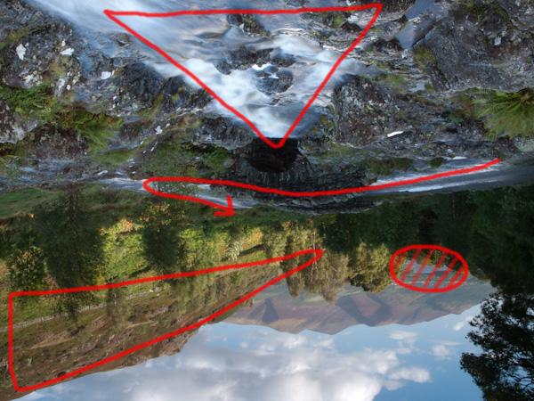 By turning the image upside down, it is easier to distill the key components of the composition, namely: the cascade of water running towards the bridge, the road over the bridge to lead the eye further into the scene, and the hatched circle of interest in the background, being pointed towards by the triangle of well lit trees