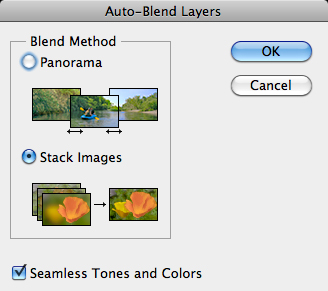 Focus stack auto blend dialog box