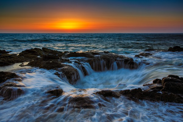 Thor's Well, at Cape Perpetua, is breathtaking in showcasing the ocean's power. EOS 5D Mark III, EF 24-70, f/2.8L II, at 31mm. 1/5, f/16, ISO 100.   Due to the spray I was unable to use a graduated neutral density filter, so in the raw processing I pulled the exposure for the sky back using a digital graduated filter in Adobe Camera RAW.