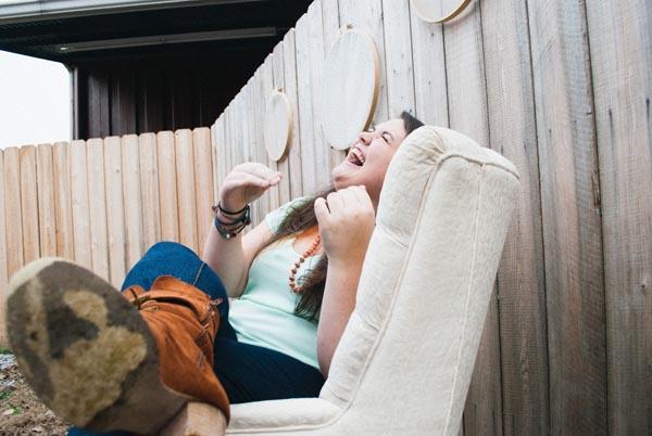 senior portrait girl laughing