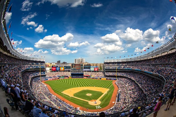 On a recent outing to Yankee Stadium, the only lens I had on my 5D Mark III was the Canon 8-15mm fisheye zoom. I love a fisheye for a situation like this- great foreground, great sky, and an obvious subject.  Most fans go to the game hoping to zoom in on their favorite player. Knowing I would never be close enough, I went the other direction and wanted to get everything.