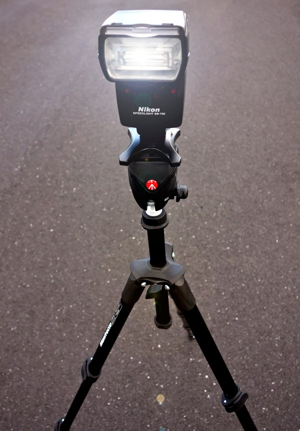 My SB700 speedlight on the Manfrotto Compact MKC3-H01