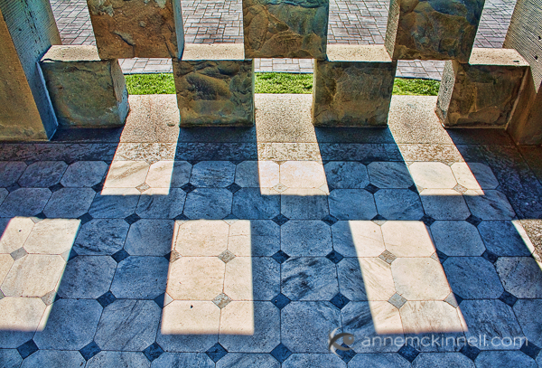 Sandstone blocks and shadows by Anne McKinnell
