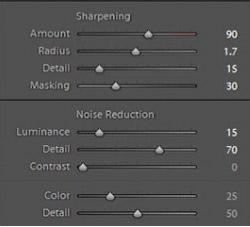 sharpening settings