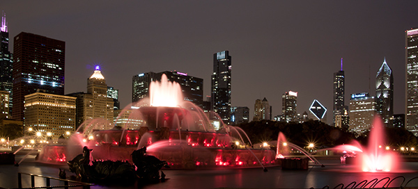 Chicago skyline at night with fountain