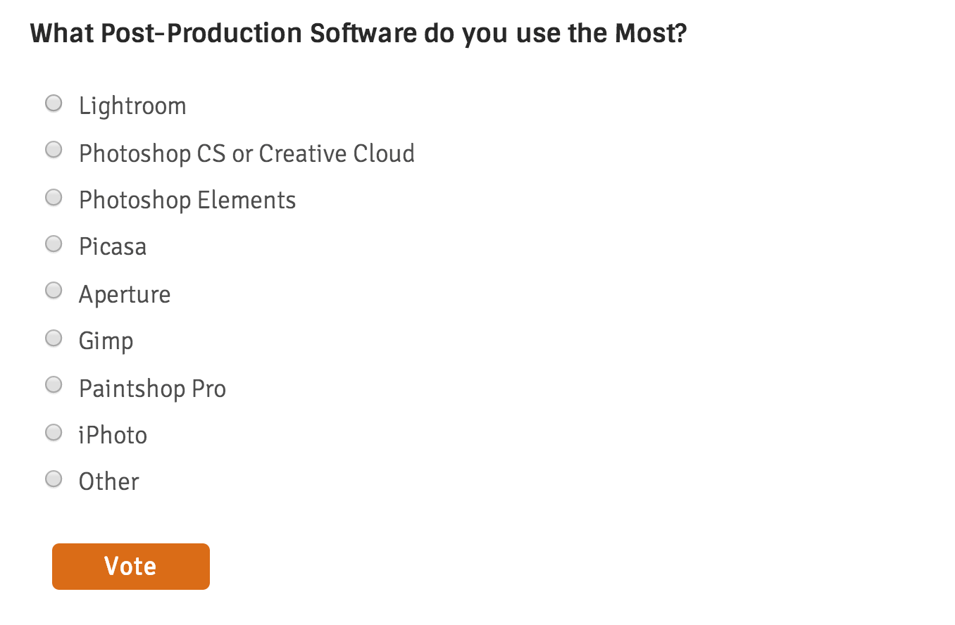 Poll update - what post production software do you use the most?