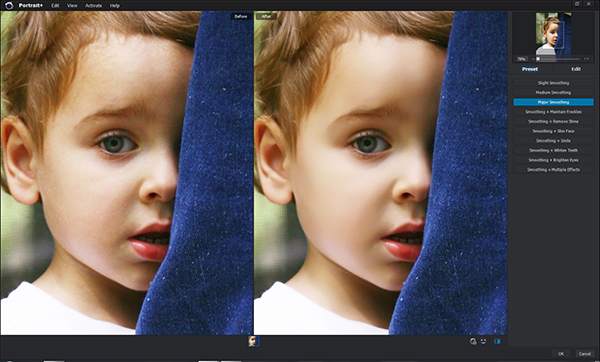 Original on the left. Skin-smoothed on the right.