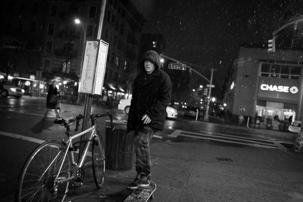 street night photography person in the snow