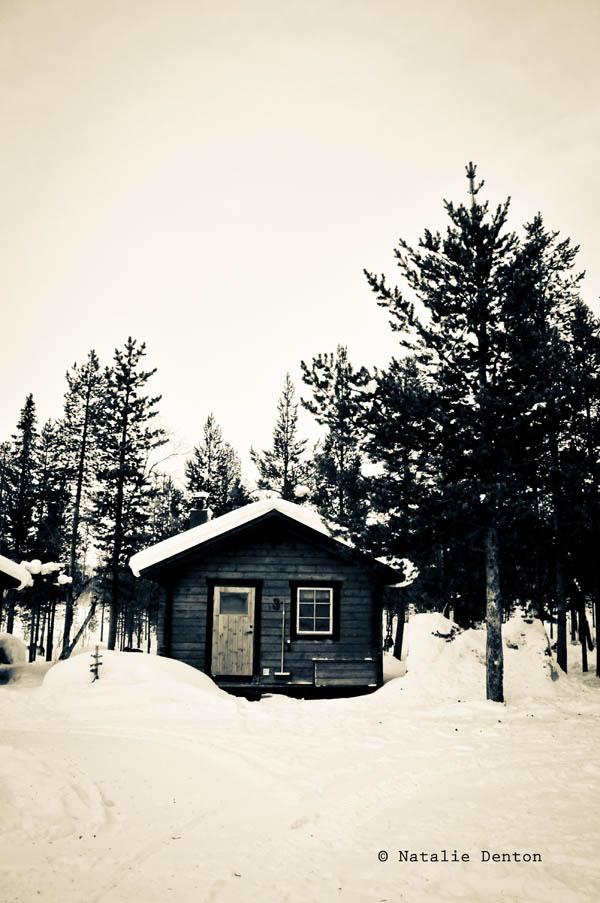 Lapland cabin snow Natalie Denton