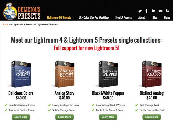 Delicious presets website